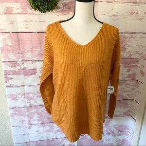 Charlotte Russe Orange VNeck Curved Hem Sweater
